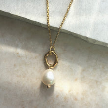 Load image into Gallery viewer, pearl and gold ring necklace