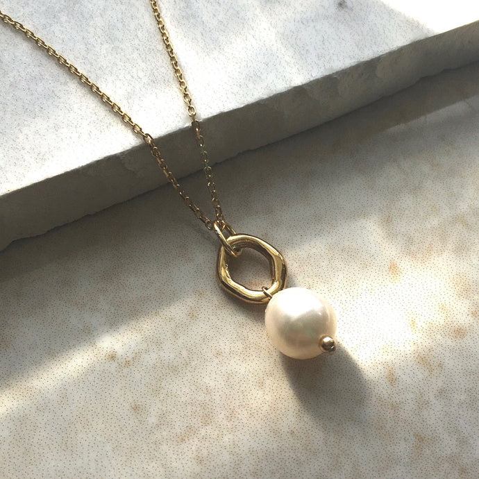 pearl and gold ring necklace