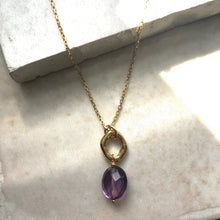 Load image into Gallery viewer, amethyst and gold ring necklace
