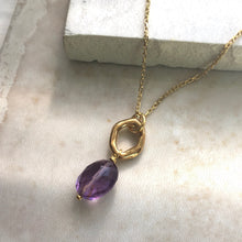 Load image into Gallery viewer, amethyst gold pendant necklace