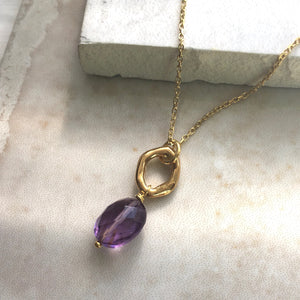 amethyst gold pendant necklace