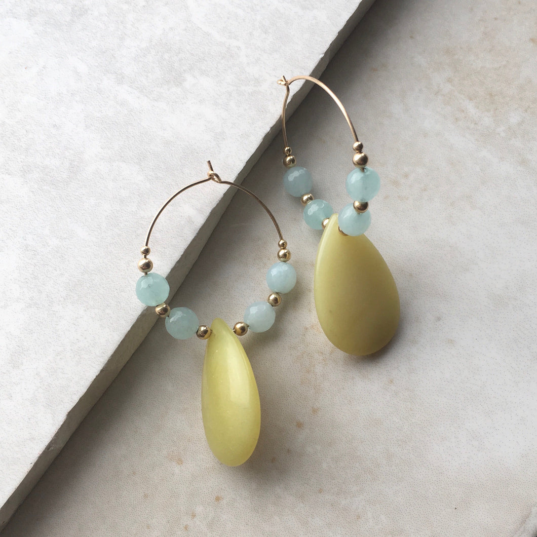 yellow and blue hoop earrings