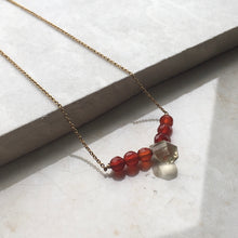 Load image into Gallery viewer, lemon quartz and carnelian beaded gold necklace