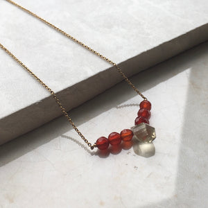 lemon quartz and carnelian beaded gold necklace