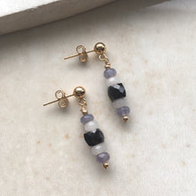 Load image into Gallery viewer, grey and black gold drop earrings