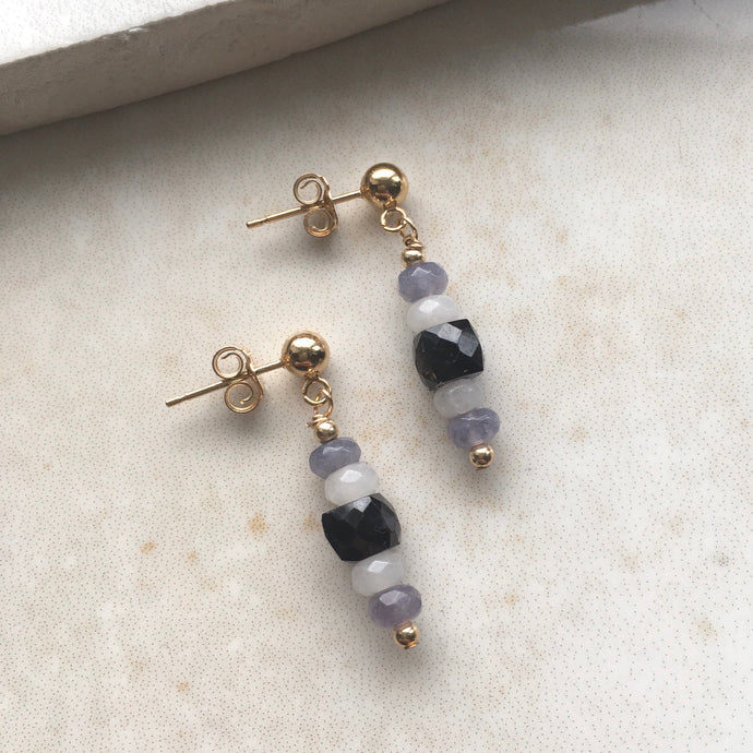 grey and black gold drop earrings