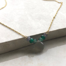 Load image into Gallery viewer, moonstone and jade beaded gold necklace