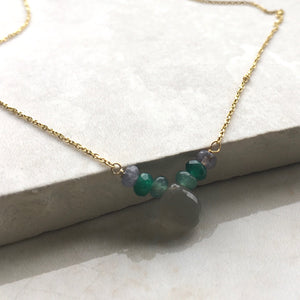 moonstone and jade beaded gold necklace