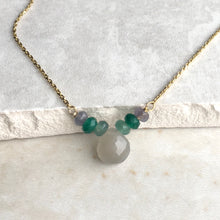 Load image into Gallery viewer, grey moonstone and green bead gold necklace