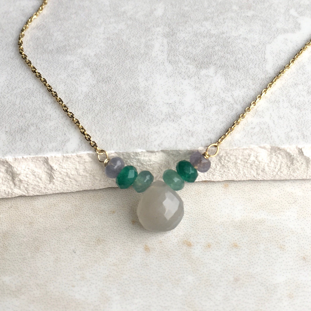 grey moonstone and green bead gold necklace