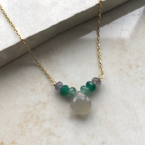 grey moonstone briolette and green jade beaded necklace