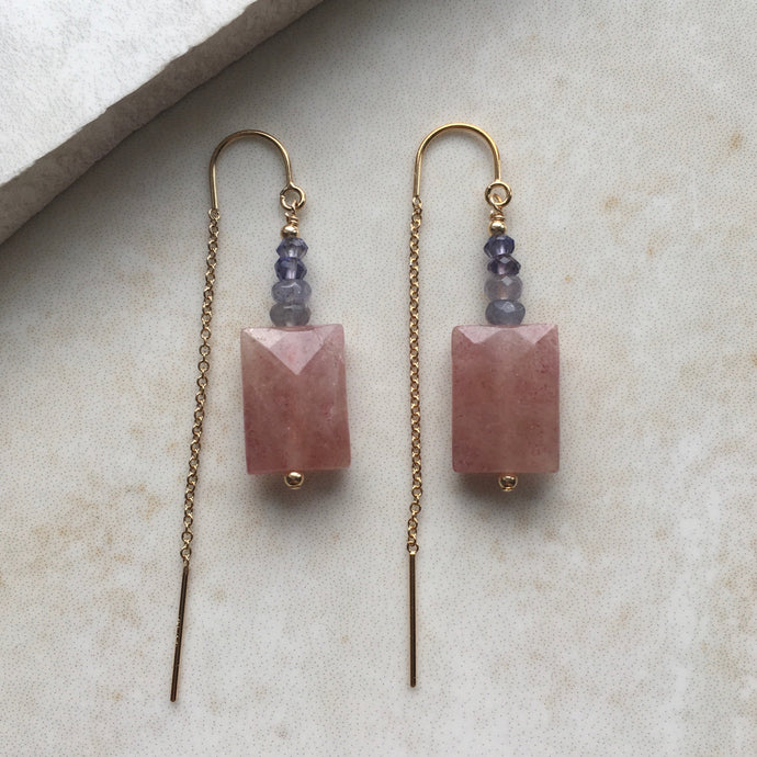 pink quartz and blue gold threader earrings