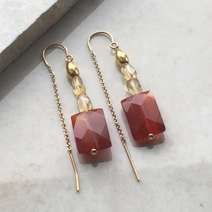 Citrine and Sardonyx Gold Threader Earrings