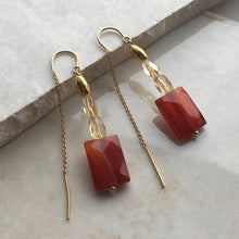 Load image into Gallery viewer, Citrine and Sardonyx Gold Threader Earrings