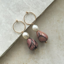 Load image into Gallery viewer, rhodonite and pearl drop hoop earrings