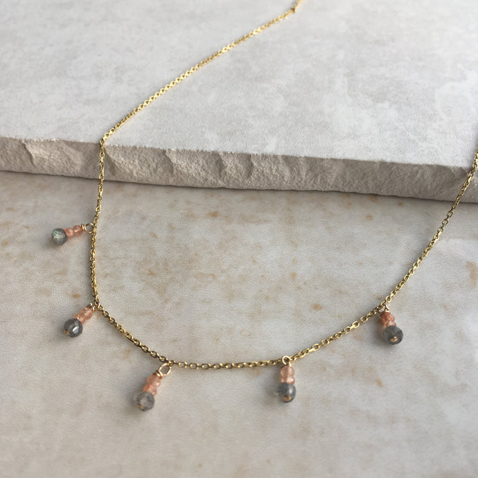 Grey and Peach Boho Necklace
