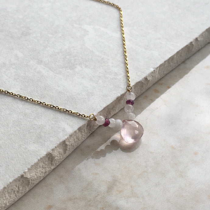 Rose Quartz and Jade Gold Necklace