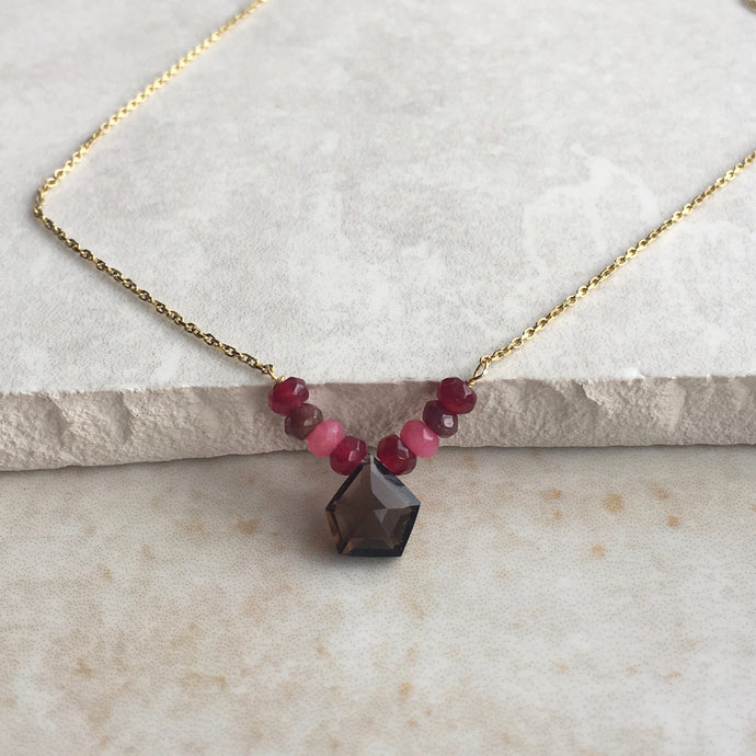 Smoky Quartz Hexagon Necklace