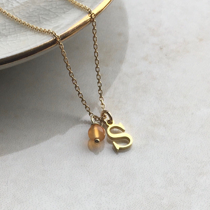 Gold Initial Necklace with July Birthstone
