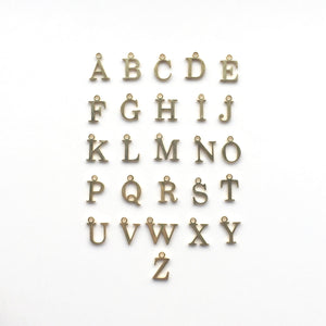 gold charm letters for initial necklace