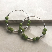 Load image into Gallery viewer, green jade and silver beaded hoop earrings