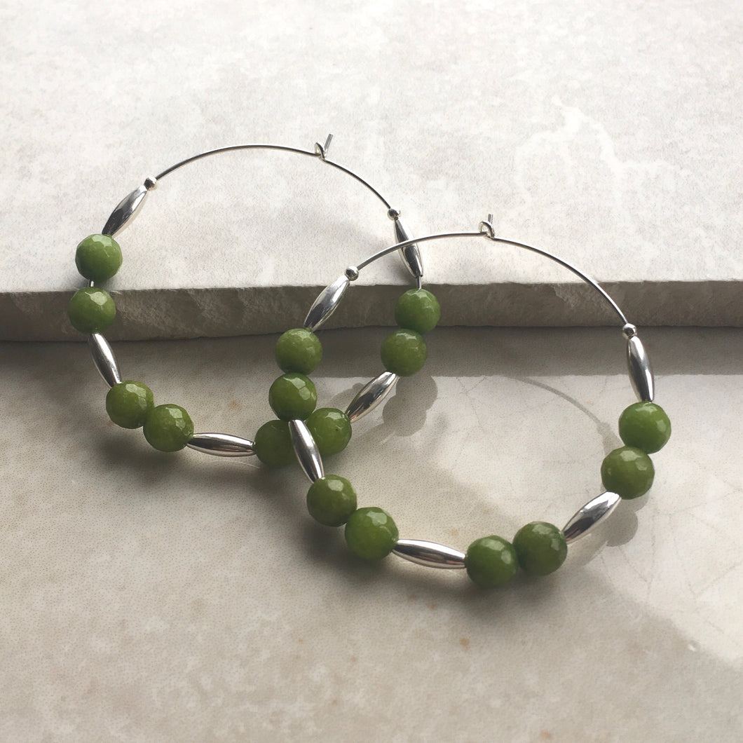 green jade and silver beaded hoop earrings
