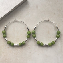 Load image into Gallery viewer, silver hoop earrings with green jade beads