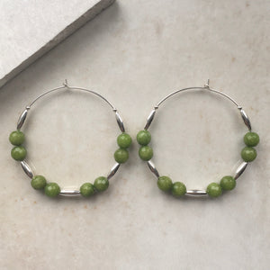 silver hoop earrings with green jade beads