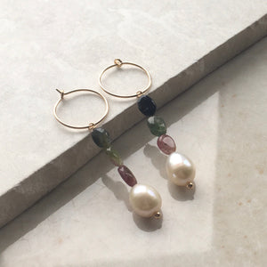 Pearl and Tourmaline Hoop Earrings