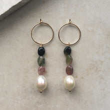 Load image into Gallery viewer, Pearl and Tourmaline Hoop Earrings