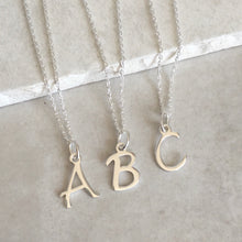 Load image into Gallery viewer, Sterling Silver Initial Charm Necklace