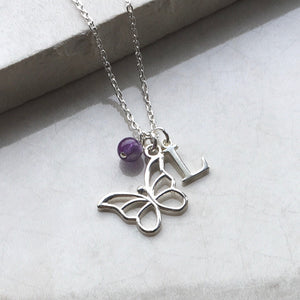 Butterfly Necklace with Initial and Birthstone