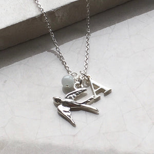 Swallow Necklace with Initial and Birthstone