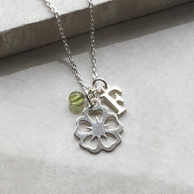 Load image into Gallery viewer, Silver Flower Necklace with Initial and Birthstone