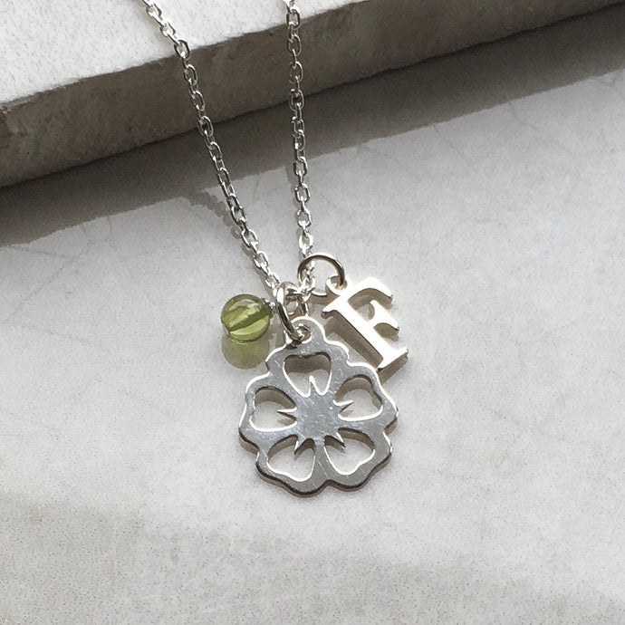 Silver Flower Necklace with Initial and Birthstone