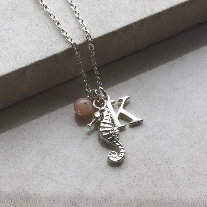 Seahorse Necklace with Initial and Birthstone