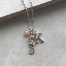 Load image into Gallery viewer, Seahorse Necklace with Initial and Birthstone