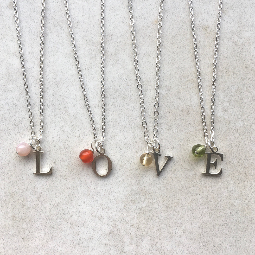 Sterling Silver Initial and Birthstone Necklace