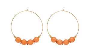 Orange and Gold Hoop Earrings