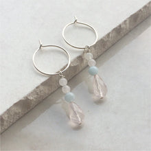 Load image into Gallery viewer, rose quartz beaded drop hoop earrings