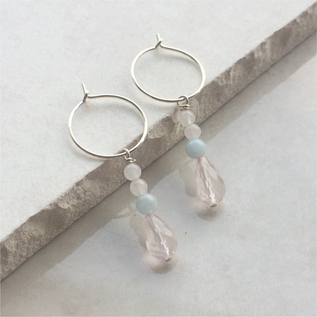 rose quartz beaded drop hoop earrings