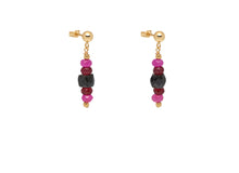 Load image into Gallery viewer, Pink and Black Chrysalis Earrings