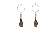 Load image into Gallery viewer, Smoky Quartz and Tourmaline Bead Drop Hoop Earrings