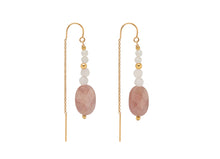 Load image into Gallery viewer, Strawberry Quartz Beaded Threader Earrings