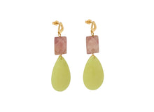 Load image into Gallery viewer, Strawberry Quartz and Yellow Teardrop Earrings