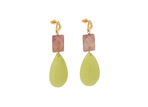 Strawberry Quartz and Yellow Teardrop Earrings