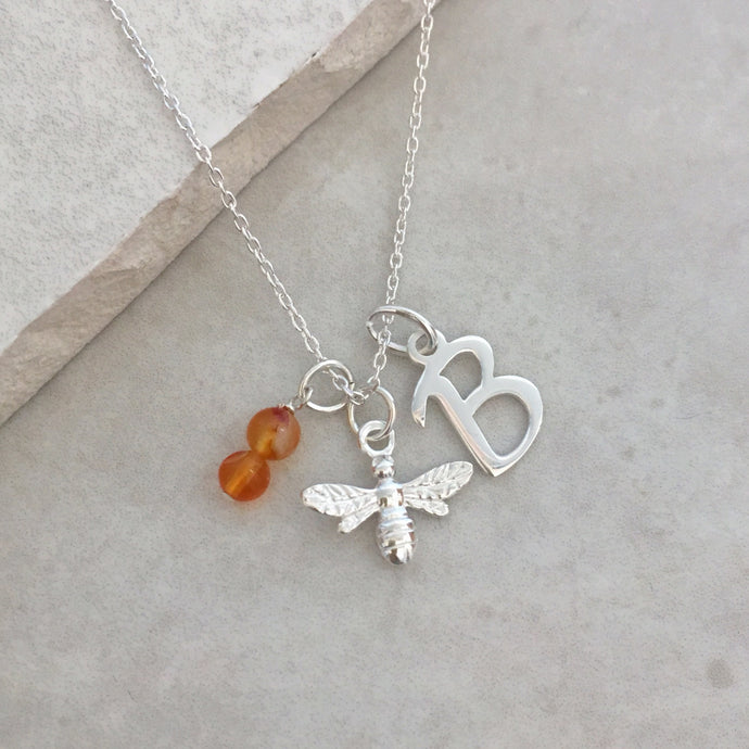 Personalised Bee Necklace with Initial and Birthstone