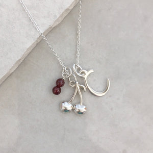 Personalised Cherry Necklace with Initial and Birthstone