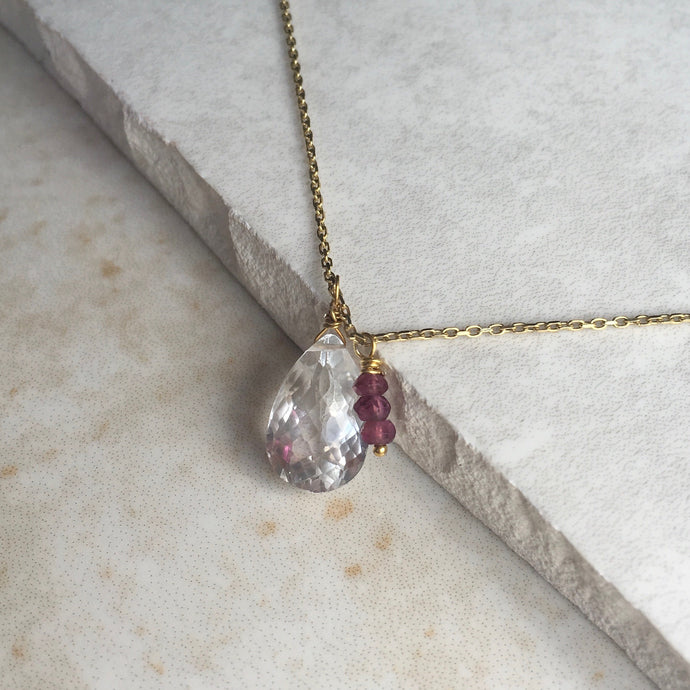 crystal quartz teardrop with garnet bead pendant necklace