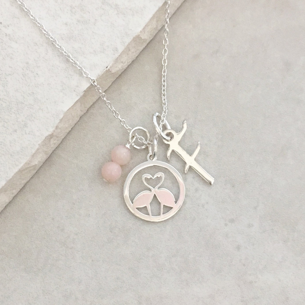 Personalised Flamingo Necklace with Initial and Birthstone